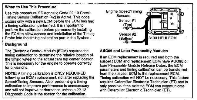 3100 HEUI Troubleshooting Engine Speed/Timing Calibration